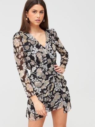River Island Floral Ruched Detail Tea Dress - Black