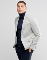 Asos Slim Blazer In Gray 100% Wool