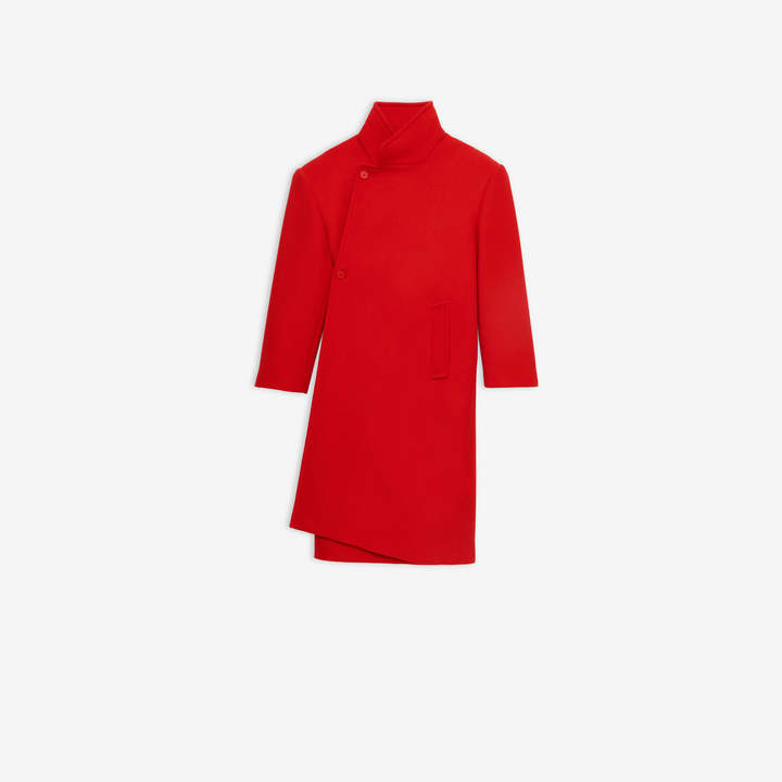 Balenciaga Shifted Coat in red felted wool