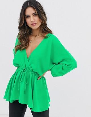 Asos Design DESIGN batwing sleeve top with tie waist-Green