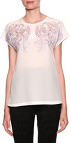 Dolce & Gabbana Crewneck Cap-Sleeve Silk Blouse w/ Lace Applique