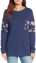 Women's Caslon Print Detail Pocket Sweatshirt