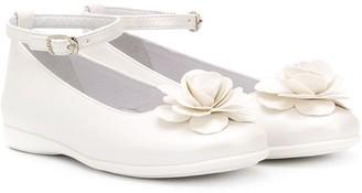 Colorichiari Buckled Floral-Applique Ballerina Shoes