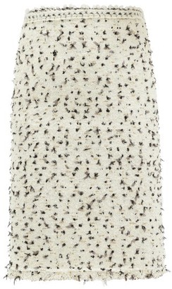Giambattista Valli High-rise Boucle Midi Skirt - White Black