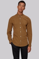 Moss Bros Extra Slim Fit Mustard Dobby Check Button Down Casual Shirt
