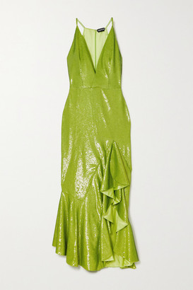 Tom Ford Ruffled Sequined Satin Gown - Green