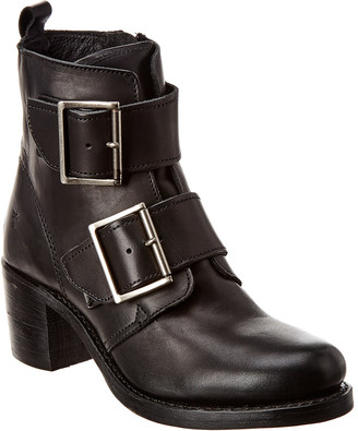 Frye Sabrina Double Buckle Leather Bootie