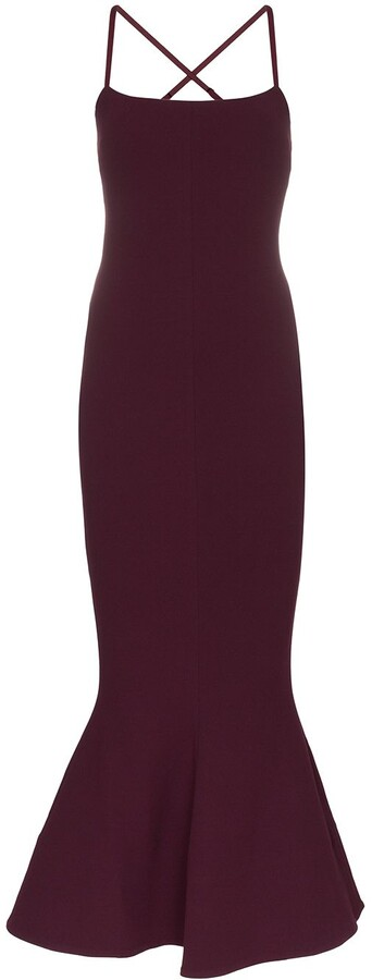 SOLACE London Verla fluted hem maxi fldress