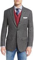 Kiton Check Three-Button Cashmere Sport Coat, White/Black