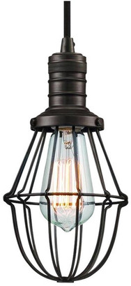 Langdon Mills Storrow Industrial Cage Mini Pendant Light Edison Filament Bulb Burnis