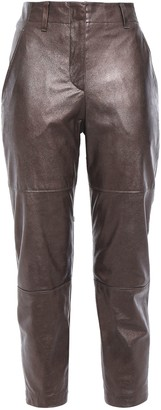 Brunello Cucinelli Cropped Metallic Glossed-leather Slim-leg Pants