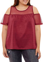 Self Esteem Short Sleeve Round Neck Knit Floral Blouse-Juniors Plus