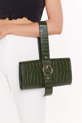 Nasty Gal Womens Want Croc Your Heart Out Faux Leather Buckle Bag - Green - One Size, Green