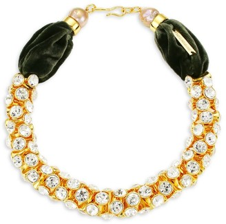 Lizzie Fortunato Emerald Sky 18K Yellow Goldplated, Crystal & 13-15MM Freshwater Pearl Collar Necklace