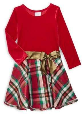 Iris & Ivy Little Girl's Plaid Velvet Hipster Dress