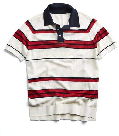 Todd Snyder Stripe Cotton Silk Micro Mesh Polo in Navy