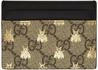 Gucci Beige GG Supreme Bees Card Holder