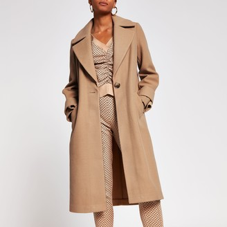 River Island Womens Brown long line cuff detail coat