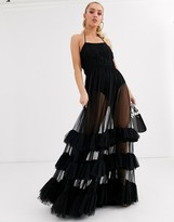 Lace & Beads embellished bodice tiered tulle maxi dress in black