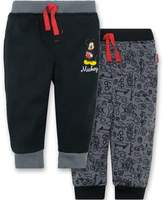 Disney Mickey Mouse Baby Boys' 2 Pack Fleece Drawstring Jogger Pants, 0-3 Months