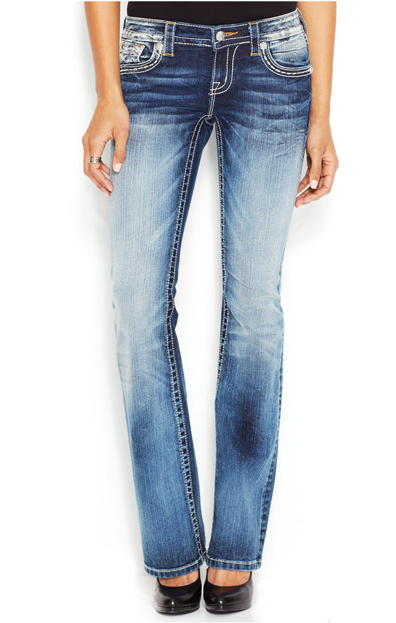 Miss Me Rhinestone Studded Petite Bootcut Jeans