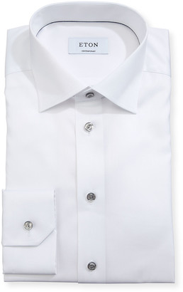Eton Contemporary-Fit Twill Shirt with Gray Buttons