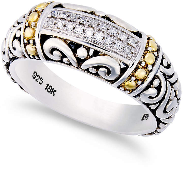 Effy Balissima by Diamond Accent Round Swirl Ring in 18k Gold and Sterling Silver