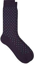 Barneys New York Men's Polka Dot Wool-Blend Mid-Calf Socks-PURPLE