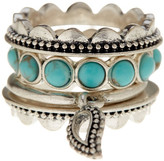 Lucky Brand Silver Tone Turquoise Stackable Ring Set