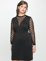 ELOQUII Plus Size Deep V Mesh Detail Dress