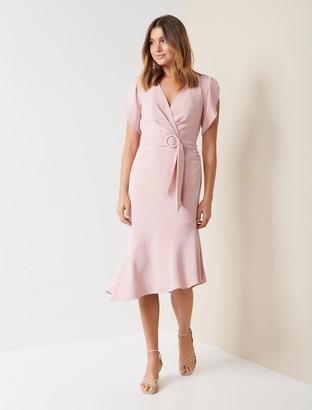 Forever New Olivia Tulip-Sleeve Crepe Midi Dress - Romy Rose - 8