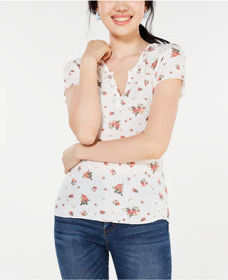 Ultra Flirt Juniors' Floral Lace-Back T-Shirt