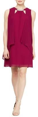 SL Fashions Chiffon Cutout Crew Neck Pearl Accent Dress