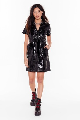 Nasty Gal Womens Slick Down Vinyl Shirt Dress - black - S