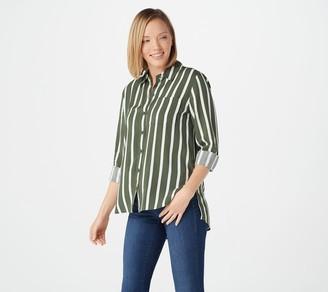 Rachel Hollis Ltd. Striped Button Front Shirt