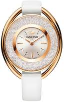 Swarovski Crystalline Oval White Crystal & Rose Gold Plated White Leather Watch 5230946