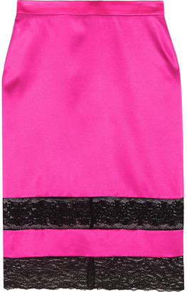 Givenchy Skirt In Black Lace-trimmed Bright-pink Silk-satin