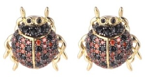 Noir Red/Black Cubic Zirconia Ladybug Stud Earring