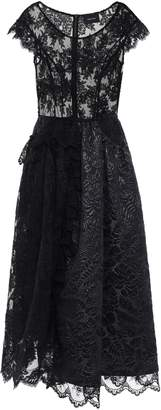 Simone Rocha Cloque-paneled Tinsel-trimmed Corded Lace And Tulle Midi Dress