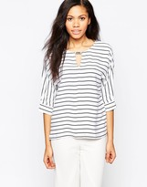 B.young Striped 3/4 Sleeve Top