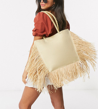 South Beach Exclusive straw tote bag with fringed edge in natural