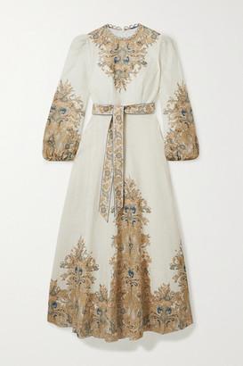 Zimmermann Freja Paisley-print Linen Maxi Dress - Ivory