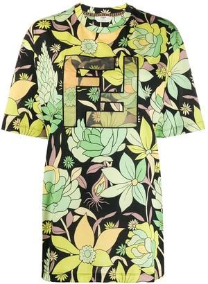 Fendi Green Floral Print Logo T-shirt