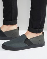 Asos Slip On Sneakers in Gray Faux Suede With Elastic