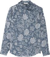 Jill Stuart Isadora printed silk-jacquard top