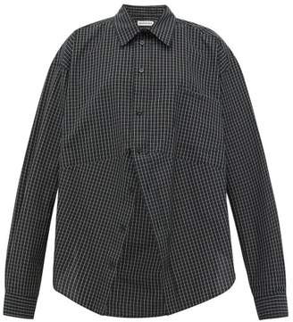 Balenciaga Swing Checked Cotton-poplin Shirt - Womens - Black White