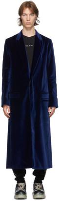 Haider Ackermann Navy Velvet Classic Coat