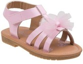 Petalia Girls' Front Tie Patent Material With Hook&Loop Closure Sandals