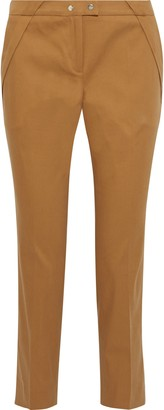 BA&SH Pleated Stretch-cotton Twill Slim-leg Pants