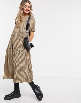 ASOS DESIGN midi tiered smock dress in camel and black grid print